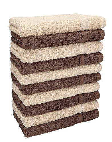 Betz. set di 10 asciugamani per ospiti asciugamano ospite salvietta asciugamano da bidet asciugamano per le mani misure: 30 x 50 cm, qualità: 600g/m² gold, colore: beige e marrone noce
