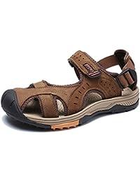 YXLONG Herren Sandalen Leder Outdoor Freizeitschuhe Sommer Neue Erste Schicht Leder Baotou Herren Sandalen