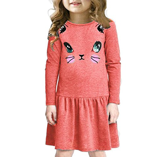 Longra Kinder Mädchen Herbst Kleidung Katze Bedruckte Kleider Kinder Kleidung Prinzessin Kleid Mädchen Casual Langarm T-shirt Kleid(3-7Jahre) (130CM 7Jahre, Red)