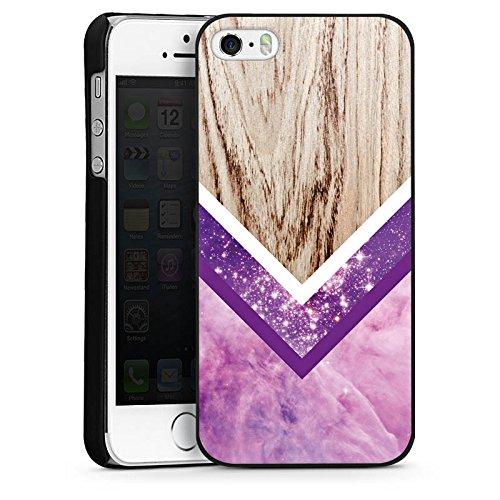 Apple iPhone 6 Housse Étui Silicone Coque Protection Look bois Paillettes Motif hipster CasDur noir