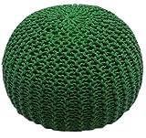 Millhouse, pouf poggiapiedi in maglia imbottito in cotone per soggiorno o camera da letto, Green, 50 cm
