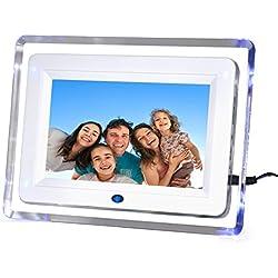 """DIGIFLEX Cornice digitale da 7"""" alta risoluzione, retro illuminata con luce blu + scheda di memoria SD da 8GB e telecomando, presa britannica."""