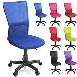 TRESKO Bürostuhl Schreibtischstuhl Drehstuhl, erhätlich in 7 Farbvarianten, mit Kunststoff-Leichtlaufrollen, stufenlos höhenverstellbar, gepolsterte Sitzfläche, ergonomische Passform, Lift SGS-geprüft (Blau)