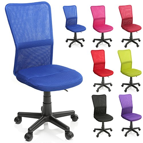 TRESKO Silla de oficina escritorio giratoria, disponible en 7 variantes de colores, con ruedas para suelos duros, regulable en altura de forma continua, asiento acolchado, respaldo ergonómico, pistón de gas certificado por SGS (Azul)