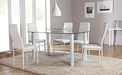 Lunar Rectangle White Glass Dining Table Set and 4 White Faux Leather Chairs Seats - low-cost UK dining table store.