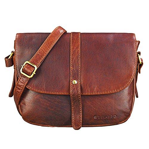 STILORD 'Kira' Umhängetasche Frauen Leder Vintage kleine Handtasche zum Ausgehen Klassische Abendtasche Partytasche Freizeittasche Echtleder, Farbe:Siena - braun