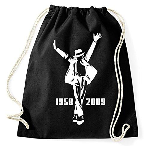 Michael Jackson King Of Pop Turnbeutel Sportbeutel Jutebeutel Rucksack Spruch Sprüche Hipster Design, schwarz Michael Jackson Rucksack