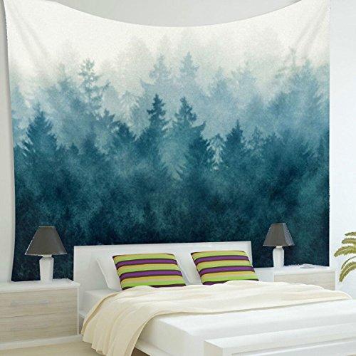 Jeteven Hippie-Tapisserie Mandala Wandteppich Blau forest Tuch, indisch Elephant Wandbehang Wald, Wall Tapestry Boho Yoga Strandtuch Picnic Throw, Wand Deko 150X130cm Blau Wald