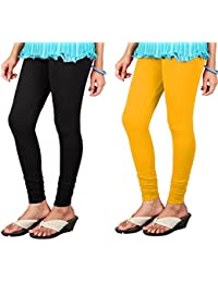 Anaro V-cut Solid Premium Four Way Stretchable Black And Mustard Yellow Cotton Lycra Churidar Leggings For Womens...