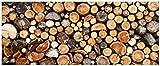 Wallario Glasbild Dunkler Holzstapel rund - 50 x 125 cm in Premium-Qualität: Brillante Farben, freischwebende Optik