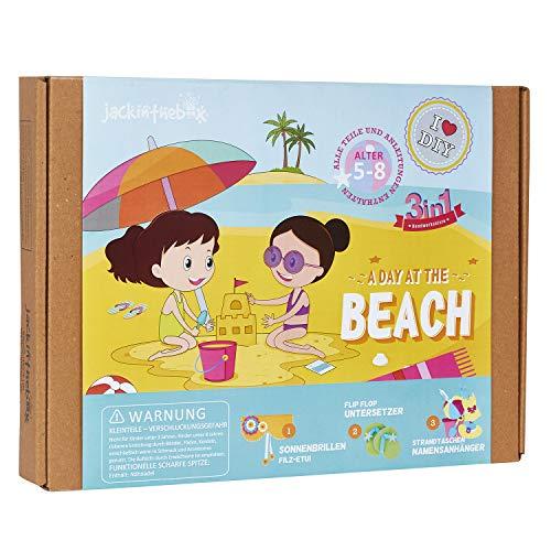 jackinthebox Kunst- und Handwerkset zum Thema Strand | 3 Aktivitäten in 1 | Enthält EIN wunderschönes Filzbeutel-Set für Sonnenbrillen Mädchen im Alter von 6-10 Jahren (3-in-1)