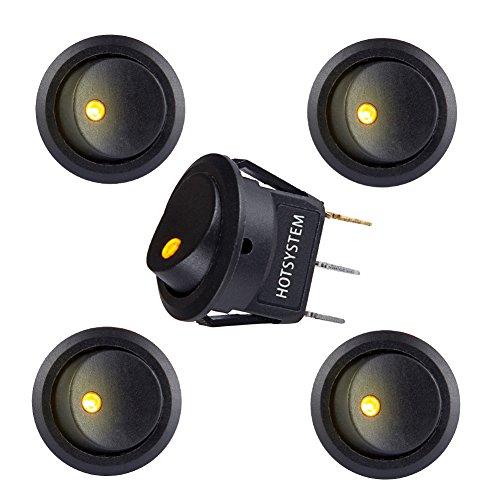 HOTSYSTEM 12V 20A Auto KFZ Runder Schalter Wippschalter Ein-Ausschalter mit gelber LED Anzeige Wechsel Switch Kippenschalter 5 Stück