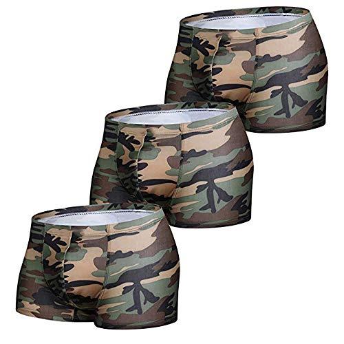 Sking Herren Boxershorts Sexy Unterhose Camouflage Low Rise Briefs Unterwäsche Trunks 3er Pack (X-Large) -