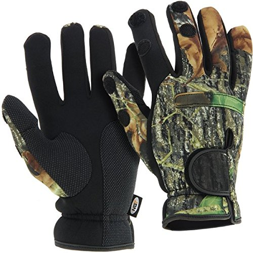 NGT–neopreno pesca caza Split dedo guantes de invierno, Neopreno, Unisex, color camuflaje, tamaño extra-large