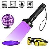UV Taschenlampe Schwarzlichtlampe mit 100 LEDs 395nm Ultraviolet Lampe und Brille als Hund Katze Urinflecken Detektor Geldscheinprüfer Fleckendetektor für Fluoreszierend Stoffe (100 LED)