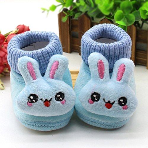 FEITONG Kleinkind Säugling Baby Karikatur Kaninchen schuhe Weiche Sohle Prewalker warme Stiefel (0 ~ 6 Monate, Rosa) Blau