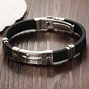 OBSEDE Men's Stainless Steel Cross Bangle Black Silicone Bracelet Folding Clasp