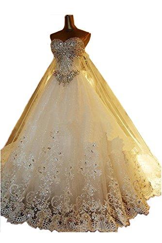 TOSKANA BRAUT Hoch qualitativ Hochzeitkleider Damen Duchesse-Linie Tuell Blumen Applikation mit Steine Schleppe Abendkleider 197965