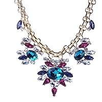 HYHAN Catena maglia collana di fiori-stile retrò diamanti colore (Grande E Capi Di Alto)
