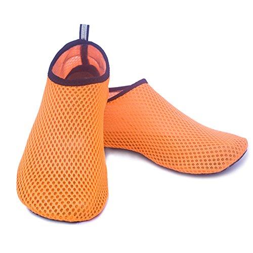 L'Eau Chaussures Scuba à séchage rapide Chaussettes plongée Pieds nus Chaussures de la peau Plage Surf Yoga exercice Chaussures pour homme femme Orange