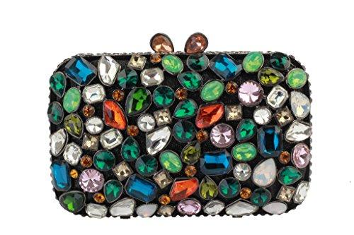 Yilongsheng femmes Cobble Floor Embrayage Sacs avec coloré cristaux noir multicolore