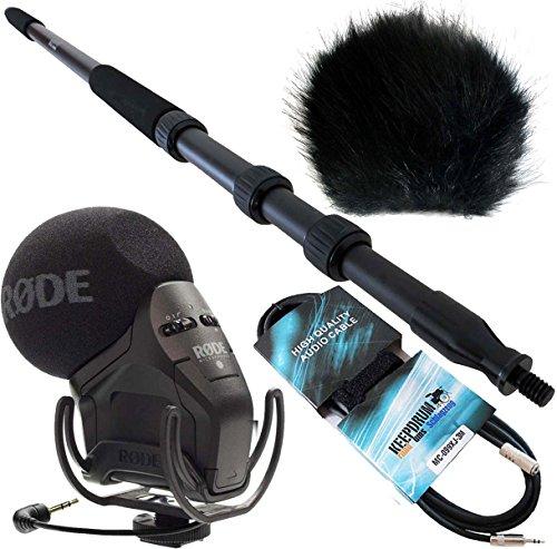 Rode SVM Pro Stereo VideoMic Pro KEEPDRUM Boompole Pro mpb01+ protezione anti-vento in pelliccia WSBK + 3m garanzia mini jack