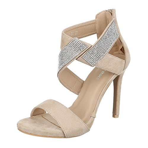 High Heel Sandaletten Damenschuhe Plateau Pfennig-/Stilettoabsatz Strass Reißverschluss Ital-Design Sandalen / Sandaletten Beige