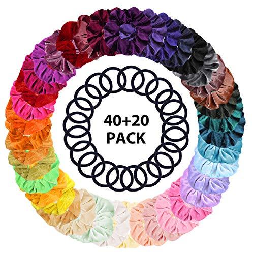 40 + 20 pezzi scrunchies di velluto, scrunchies di velluto fasce elastiche per capelli fasce per capelli elastici accessori per capelli colorati corda per capelli per donna ragazze coda di cavallo