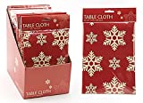 "54"" x 72"" Contemporary Red Snowflake Design Tablecloth (PM233)"