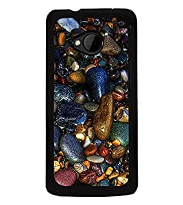 Multicolour Stones 2D Hard Polycarbonate Designer Back Case Cover for HTC One :: HTC One M7