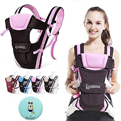 Lionsoul Klassic Babytrage Einstellbare Vordere und Hintere Bauchtrage Geeignet für Neugeborene, Säuglinge & Kleinkinder (Pink)