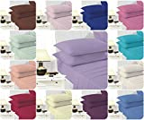 Voice7 EASY CARE Non-Iron Plain Sheets Set (Fitted Sheet + Flat Sheet + ONE Pillowcase) ~ SUPER POLYCOTTON ~ 20 COLORS & UK SIZES (Single, Fuchsia)
