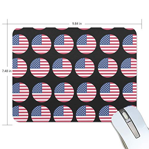 FANTAZIO Mauspad, amerikanische Flagge, Kreismuster, dicke Computer-Tastatur-Mauspad, rutschfeste Gummiunterseite, für PC Gaming oder Arbeiten