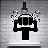 qazwsx Noir Non Toxique PVC Matériel Stickers Muraux Fan DJ Musique Casque D'Écoute Sonore Notes Autocollant Mural Home Musique Party Decor 57X58Cm