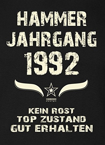 Geschenk-Set für Männer :: Hammer Jahrgang 1992 : Herren Kurzarm T-Shirt : Geschenkidee zum 25. Geburtstag : Geburtstagsgeschenk auch in Übergrößen Farbe: schwarz Schwarz