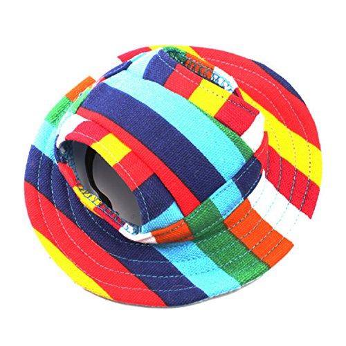 UEETEK Perro de animal doméstico sombrero sombrero de lona sombreado sombrero tapa con agujeros de oreja para perros pequeños - tamaño S (raya colorida)