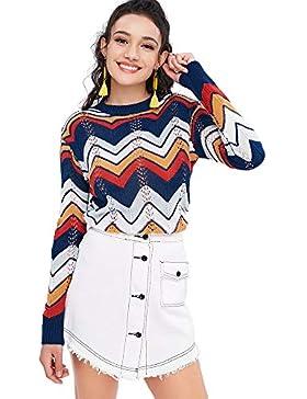[Patrocinado]YTJH Prenda de Punto para Mujer Jersey de Invierno Otoño Suéter Ahuecado a Rayas Camiseta Texturizada de Cuello...
