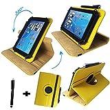 Asus Prosieben Entertainment Pad - Drehbare Tablet Schutzhülle mit Standfunktion + Touch Pen – Gelb 8 Zoll 360