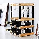 Especieros creativos enrejados de madera especieros vino portabotellas portavasos de montaje en pared 6 botella de madera maciza 4 botella montaje, 4 copa de botella