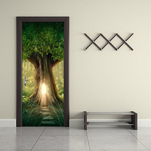 Fai Da Te 3D 3D Personalizzato Rimovibile Porta Della Foresta Adesivo  Fantasy Tree House Paesaggio Porta Adesivo Camera Da Letto Porta Soggiorno  ...