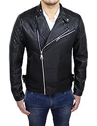 Giubbotto bomber uomo nero eco pelle casual slim fit giacca giubbino da S a  XXL 709361c6f40