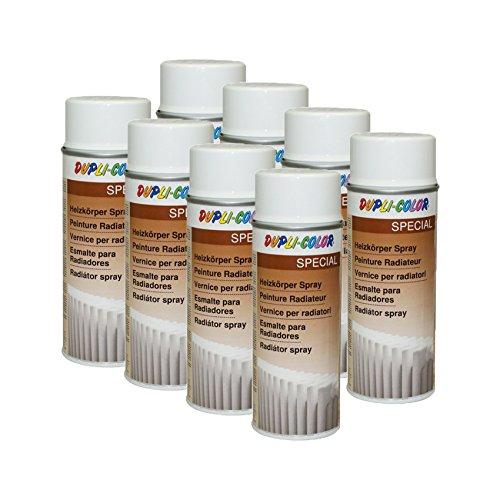 Preisvergleich Produktbild 8X DUPLI-Color HEIZKÖRPER Spray WEIß GLÄNZEND WASSERBOILER Radiator ROHRE 400 ML