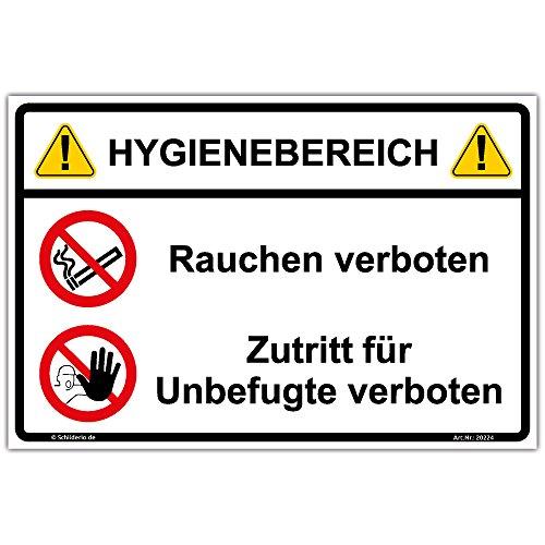 Schild Hygienebereich Rauchen und Zutritt verboten Hinweisschild