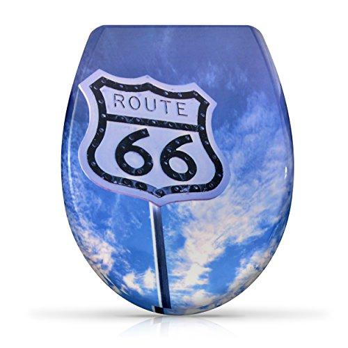 """VENKON - Sedile WC con Copri in Duroplast con Chiusura Automatica Slow Close - Modello """"Route 66"""" - Kit di Montaggio Incluso"""