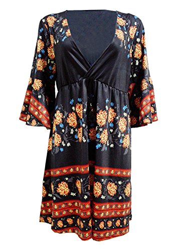 Futurino - Robe - Taille empire - Manches 3/4 - Femme Noir