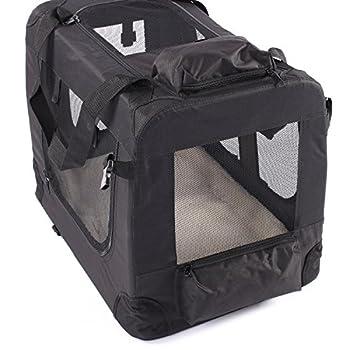 TRESKO® Boîte de transport pliable pour chiens, chats, chiots, animaux domestique, Sac de transport de voiture, pliable, diverses couleurs et tailles au choix Noir M 57 x 41 x 43 cm