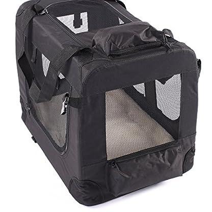 TRESKO® Folding Portable Soft Fabric Pet Carrier with Fleece Mat and Food Bag (S 49 x 32 x 35 cm, Beige) 2