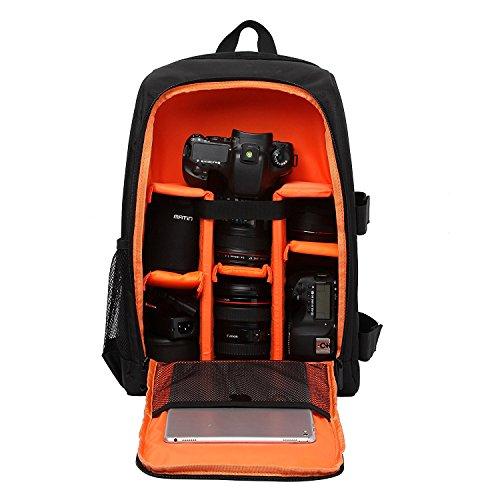 """Imagen de  para cámaras réflex y accesorios con acolchada a prueba de choques y ordenador portátil 15,6""""  viaje impermeable para nikon canon sony con cubierta de lluvia naranja"""
