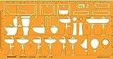 1: 20Échelle Architecturale Plan installations de plomberie sanitaire Architect Dessin Pochoir Dessin technique–Motif symboles de plan au sol...