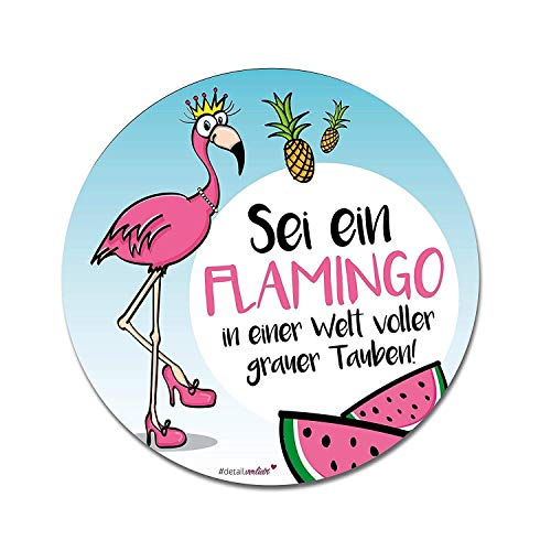 Flamingo Mauspad Tropical I Ø 22 cm rund I Mousepad mit Spruch I in Standard-Größe, Rutschfest I für Mädchen Teenager Frauen I süß I dv_236 -